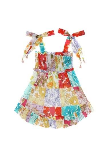 Zimmermann Zimmermann  Kareli Çiçekli Kız Çocuk Plaj Elbisesi 101557574 Renkli
